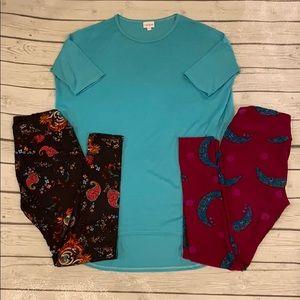 LuLaRoe XXS Irma and two pairs of OS leggings
